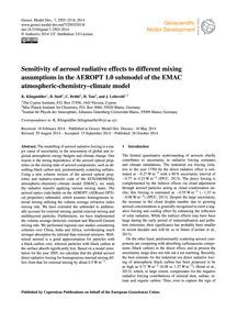 Sensitivity of Aerosol Radiative Effects... by Klingmüller, K.