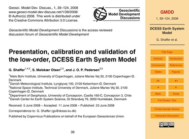 Presentation, Calibration and Validation... by Shaffer, G.