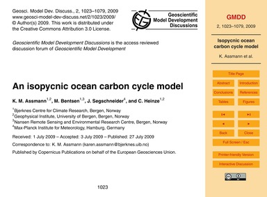 An Isopycnic Ocean Carbon Cycle Model : ... by Assmann, K. M.