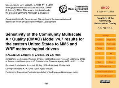Sensitivity of the Community Multiscale ... by Appel, K. W.