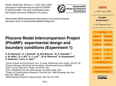 Pliocene Model Intercomparison Project (... by Haywood, A. M.