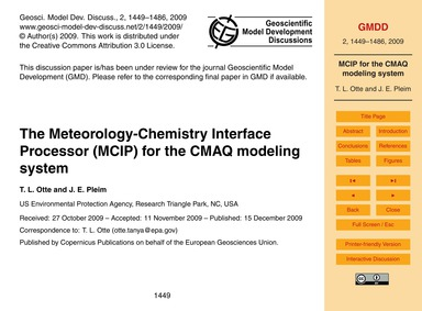 The Meteorology-chemistry Interface Proc... by Otte, T. L.