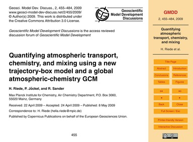 Quantifying Atmospheric Transport, Chemi... by Riede, H.