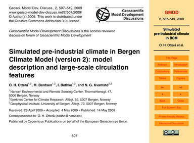 Simulated Pre-industrial Climate in Berg... by OtterÅ, O. H.