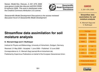 Streamflow Data Assimilation for Soil Mo... by Warrach-sagi, K.