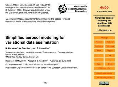 Simplified Aerosol Modeling for Variatio... by Huneeus, N.