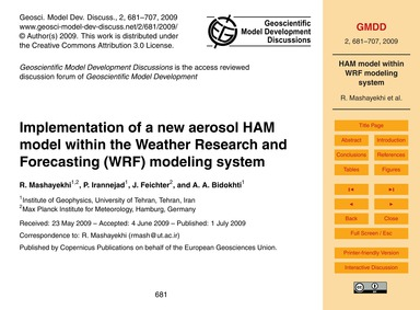 Implementation of a New Aerosol Ham Mode... by Mashayekhi, R.