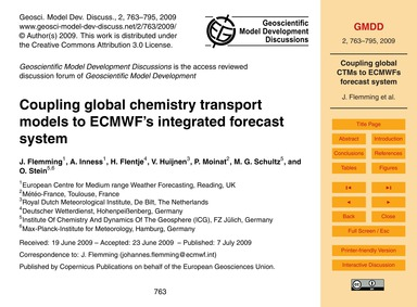 Coupling Global Chemistry Transport Mode... by Flemming, J.