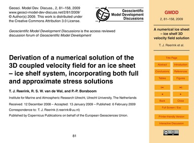 Derivation of a Numerical Solution of th... by Reerink, T. J.