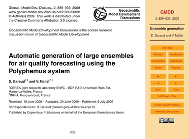 Automatic Generation of Large Ensembles ... by Garaud, D.
