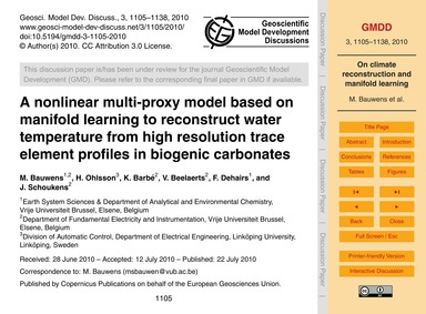 A Nonlinear Multi-proxy Model Based on M... by Bauwens, M.
