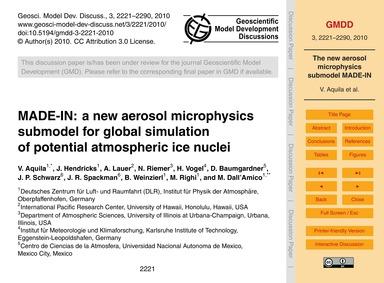 Made-in: a New Aerosol Microphysics Subm... by Aquila, V.