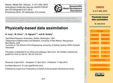 Physically-based Data Assimilation : Vol... by Levy, G.