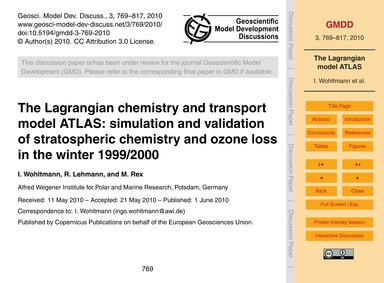 The Lagrangian Chemistry and Transport M... by Wohltmann, I.