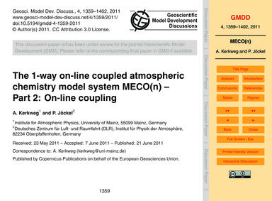 The 1-way On-line Coupled Atmospheric Ch... by Kerkweg, A.