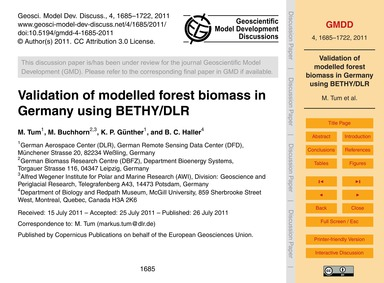 Validation of Modelled Forest Biomass in... by Tum, M.
