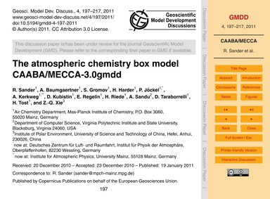 The Atmospheric Chemistry Box Model Caab... by Sander, R.