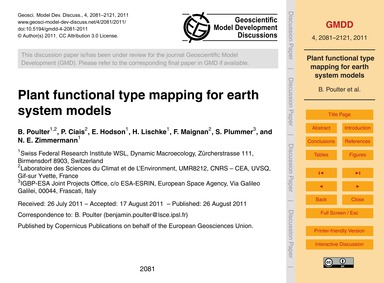 Plant Functional Type Mapping for Earth ... by Poulter, B.