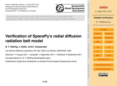 Verification of Spacepy's Radial Diffusi... by Welling, D. T.