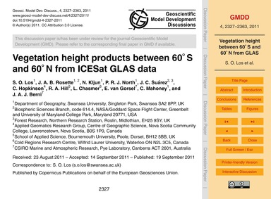 Vegetation Height Products Between 60° S... by Los, S. O.