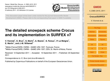 The Detailed Snowpack Scheme Crocus and ... by Vionnet, V.