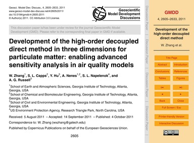 Development of the High-order Decoupled ... by Zhang, W.