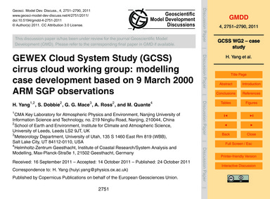 Gewex Cloud System Study (Gcss) Cirrus C... by Yang, H.