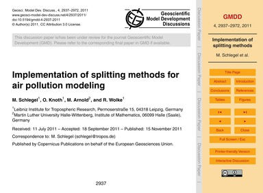 Implementation of Splitting Methods for ... by Schlegel, M.