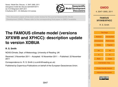 The Famous Climate Model (Versions Xfxwb... by Smith, R. S.