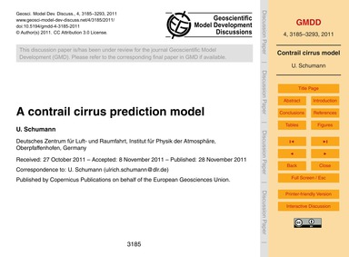 A Contrail Cirrus Prediction Model : Vol... by Schumann, U.