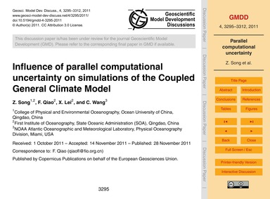 Influence of Parallel Computational Unce... by Song, Z.
