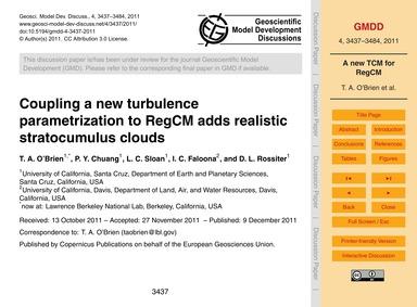 Coupling a New Turbulence Parametrizatio... by O'Brien, T. A.