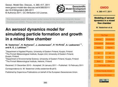 An Aerosol Dynamics Model for Simulating... by Vesterinen, M.