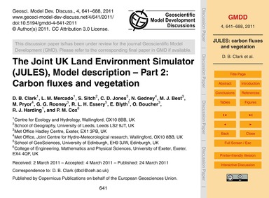 The Joint Uk Land Environment Simulator ... by Clark, D. B.