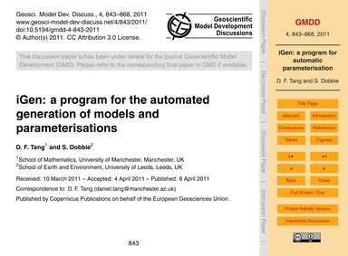 Igen: a Program for the Automated Genera... by Tang, D. F.