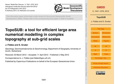 Toposub: a Tool for Efficient Large Area... by Fiddes, J.