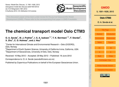 The Chemical Transport Model Oslo Ctm3 :... by Søvde, O. A.