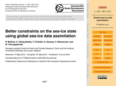 Better Constraints on the Sea-ice State ... by Mathiot, P.