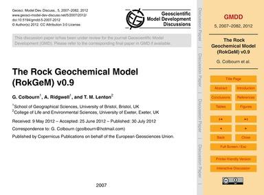 The Rock Geochemical Model (Rokgem) V0.9... by Colbourn, G.