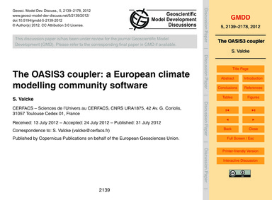 The Oasis3 Coupler: a European Climate M... by Valcke, S.