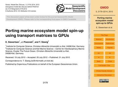 Porting Marine Ecosystem Model Spin-up U... by Siewertsen, E.