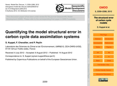 Quantifying the Model Structural Error i... by Kuppel, S.