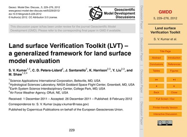 Land Surface Verification Toolkit (Lvt) ... by Kumar, S. V.