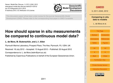 How Should Sparse in Situ Measurements B... by De Mora, L.