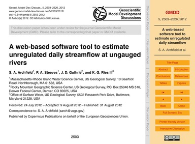 A Web-based Software Tool to Estimate Un... by Archfield, S. A.