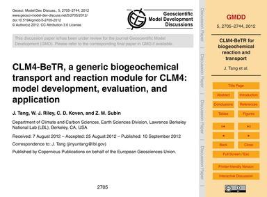 Clm4-betr, a Generic Biogeochemical Tran... by Tang, J.