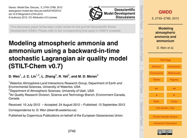 Modeling Atmospheric Ammonia and Ammoniu... by Wen, D.