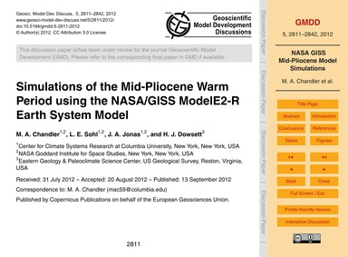 Simulations of the Mid-pliocene Warm Per... by Chandler, M. A.