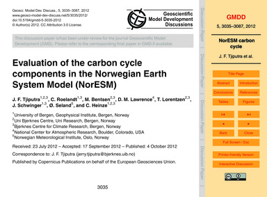 Evaluation of the Carbon Cycle Component... by Tjiputra, J. F.
