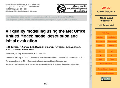 Air Quality Modelling Using the Met Offi... by Savage, N. H.